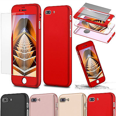 360°Full Protection Hybrid Slim Hard Case + Tempered Glass For iPhone 7 Plus Red