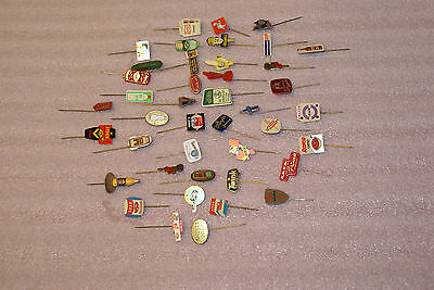 Lot of 42 Advertising Stick Pins Tin Food Household Europe Holland 1960s