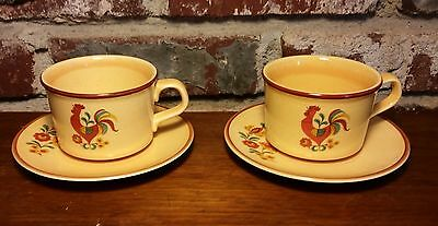 Taylor Smith & Taylor REVEILLE Cup & Saucer, 2 sets, Rooster, Yellow, Red Trim