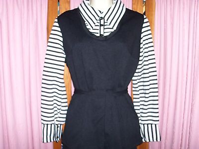 Size 18 Vintage Black and White LS Top and Pants with Tie Belt outfit Set