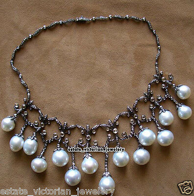 Estate Vintage 10.85cts Rose Cut Diamond Pearl Jewelry Sterling Silver Necklace