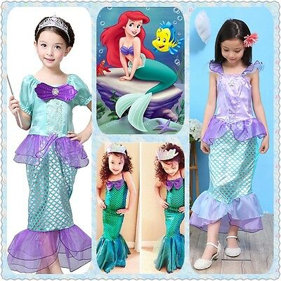 The Little Mermaid Ariel Kids Girls Dresses Princess Cosplay Halloween Costume
