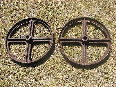 "Set Of Two ""vintage"" Cast Iron Wheels"
