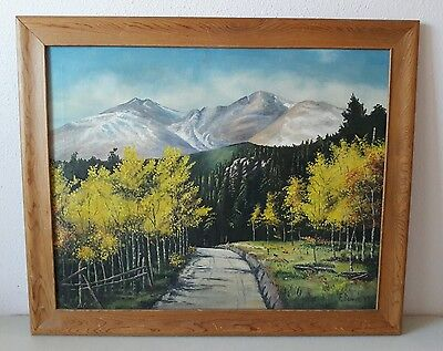 Vintage New Mexico Wpa Signed Frances A Bower Oil Painting On Canvas Dated 1949