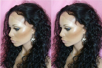 """Premium Brazilian curly 100% Human Hair Front Lace Wigs 18"""" Natural Black #1B"""