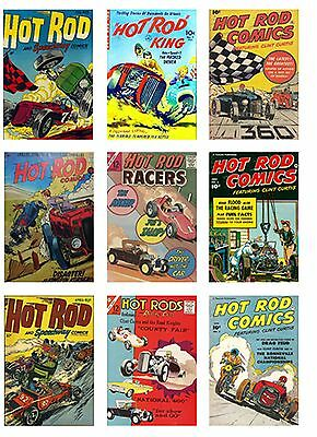 Hot Rod Comic Cover Pictures Set Of 9 Flexible Fridge Magnets Retro Vintage New