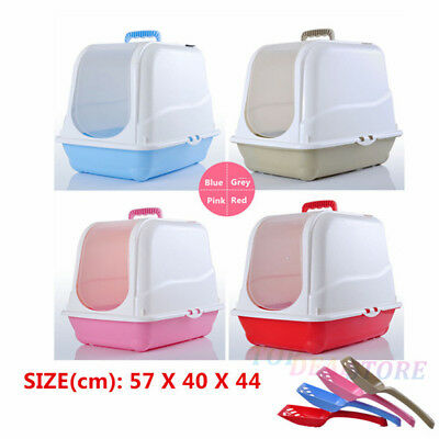Large Portable Cat Pet Hooded Toilet Litter Tray Box House + Scoop Cat Scratcher