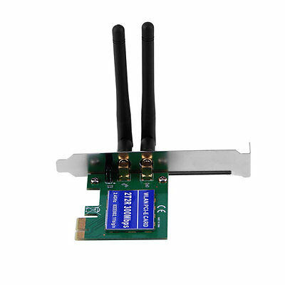 Wireless 300M Built-in Network PCI-1 Express Adapter Card 802.11B/G/N Antenna AU