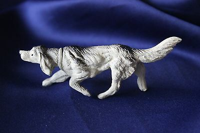 Antique Cast Iron English Setter Dog Figurine Paperweight Bottle Opener Marked