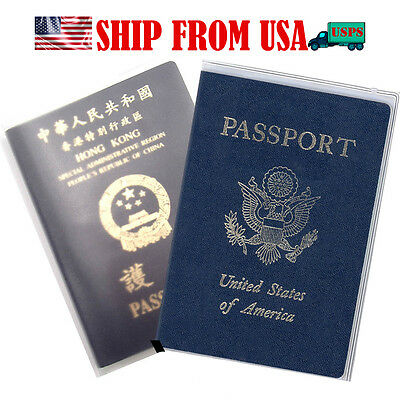 2x Clear Transparent Passport Holder Cover ID Card Travel Protector