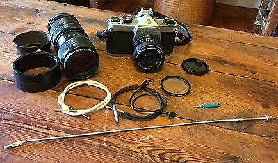 Vintage Asahi Pentax SP 1000 Film Camera 35mm Case And Extra Lens & Accessories