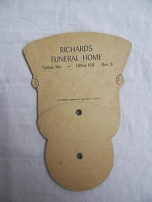 Old Vintage Richards Funeral Home Fan Tipton, Mo. Last Supper Kemper-Thomas Co.