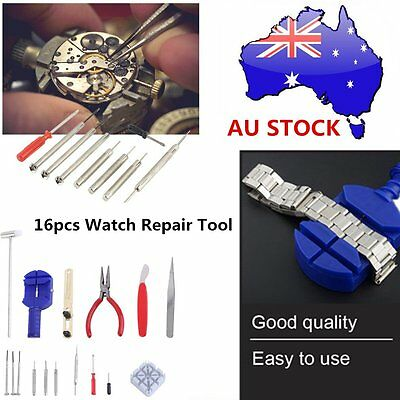 16pcs Watch Repair Tool Kit Band Pin Strap Link Remover Back Opener Hand Tool ht