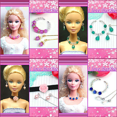 lots of 4 handmade barbie doll jewelry set necklace earrings for barbie dolls