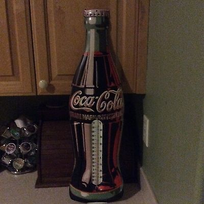 """Large Coca Cola Thermometer 1998 Sign Assembled In Usa, 29"""" X 9"""""""