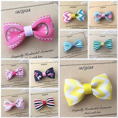 Small Hair Clips for Baby Toddlers Kids Girls School Ribbon Bow Mini Clip Gift