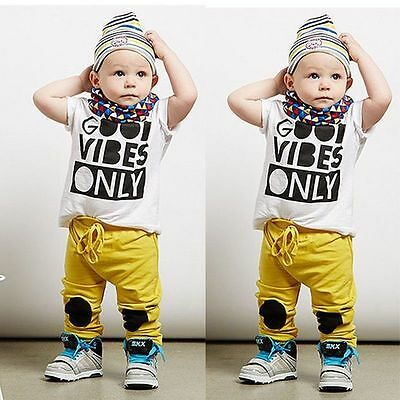 US Newborn Toddler Infant Kids Baby Boy Clothes T-shirt Tops+Pants Outfits Sets