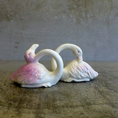 Vintage Pair of Ceramic Flamingoes Small Handcrafted signed on base Cream Pink
