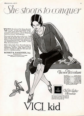 """1926 Vici Kid Shoes Ad --""""She Stoops To Conquer""""---z918"""