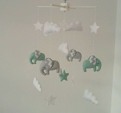 Light mint and Light grey elephant mobile with chevron ears-nursery mobile