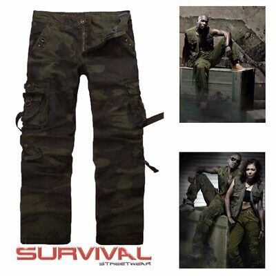 Mens New Camouflage Army Cargo Pants Military Straight Leg Cotton Size 30 32 34