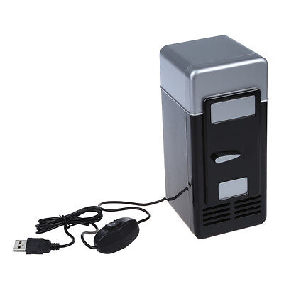 PC USB Mini Refrigerator Fridge Beverage Drink Can Cooler Warmer H4B7