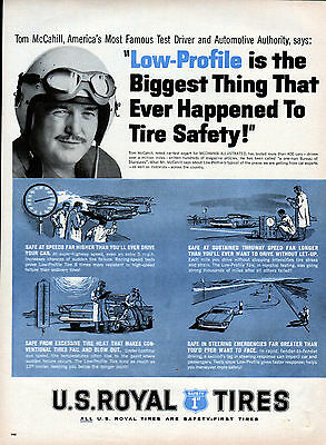1959 U.S. Royal Tire ad featuring Tom McCahill Test Driver --1 & 1/2 page ad -k5