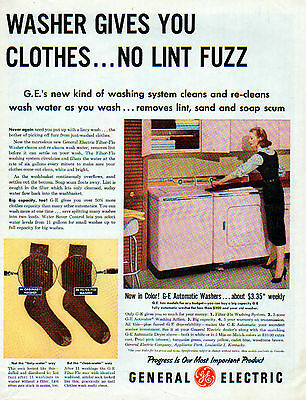 1956 GE General Electric Washer & Dryer ad -Pink & More Pink-[-838