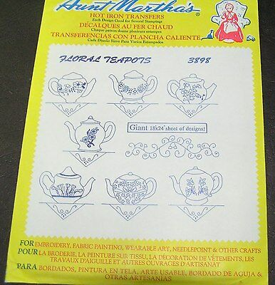 Vintage Aunt Marthas Iron On Transfer Fabric Floral Teapots Embroidery Big Sheet