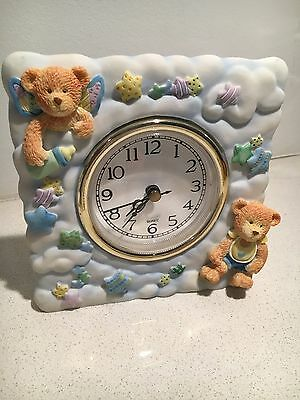 Teddy Bear Stand Alone Quartz Clock Baby Gift