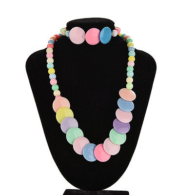 Colorful Beads Necklace&Bracelet Set Party Jewelry for Kids Baby Girls 4R0
