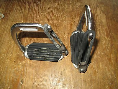 "Safety Stirrup Irons Peacock  Stainless Steel  4"" with treads"