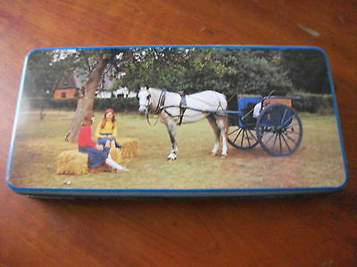 Vintage Tin ?  Biscuits ? Chocolate ?Toffee Horse and cart & girls ..no brand