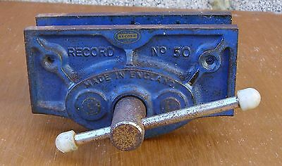 """vintage Record  No 50 carpenters bench Vice 6""""width jaw"""
