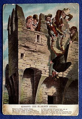 Vintage Postcard. Kissing the Blarney Stone.