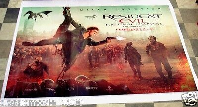 Resident Evil:the Final Chapter Original Vinyl Giant Lobby Banner Poster