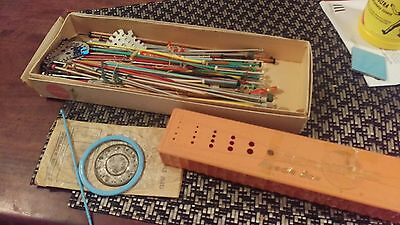 Qty vintage knitting needles in box with a Bakelite knitting needle box