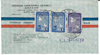 Air Mail cover , 1946 , Ecuador / London , UK . CLIPPER cachet to front .