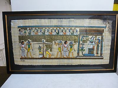 Large Egyptian Papyrus Hand Painting Framed and Glazed