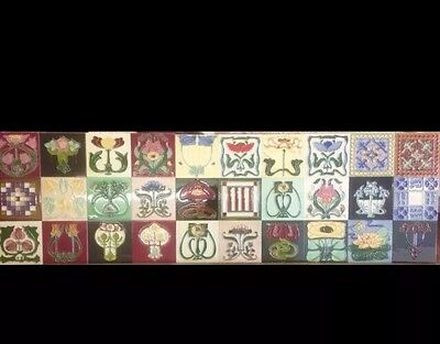 30 Separate ART NOUVEAU TILE COLLECTION TUBELINED MAJOLICA Fireplace Backsplash