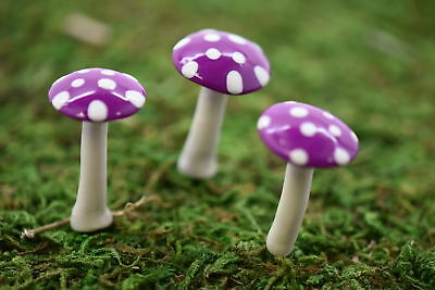 My Fairy Gardens Mini - Mini Glossy Mushrooms - Set of 3 - Purple - Supplies