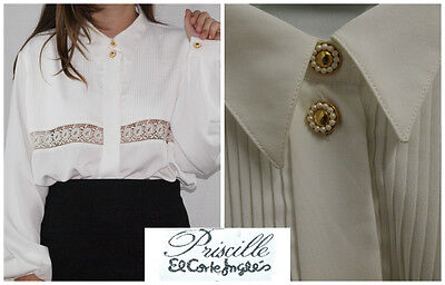 Vtg 60´s white fluid blouse GOLD+PEARL BUTTONS bell slvs LACE BAND made in Spain