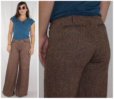 Vintage 80´s PALAZZO PANTS ultra flared FLECKED WOOL caramel MADE IN SPAIN chic