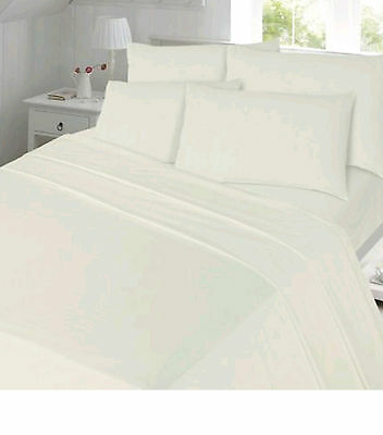 Flannelette bedding White or Cream fitted sheet, flat sheet & pillowcases