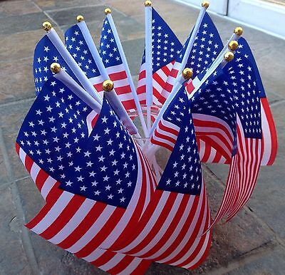 10 AMERICA FLAGS USA / AMERICAN SMALL HAND WAVING FLAG Display sports Party