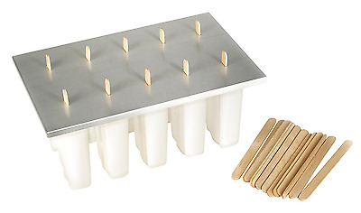 Frozen Ice Pop Maker Fox Run 10 Molds 3 Oz Aluminum Cover Wooden Popsicle Sticks