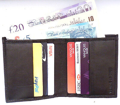 Bifold credit card leather wallet Currency Note section Slim Thin Mini Black