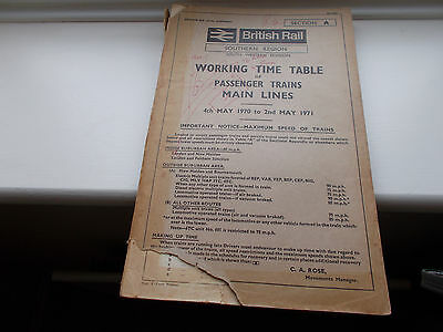 Working Timetable Southern Region Passenger Trains Main Lines Sect A 1970/71
