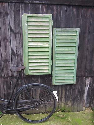 VINTAGE WOODEN FRENCH SHUTTERS LOUVER WINDOW 99 cm TALL FREE POST