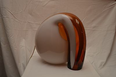 """table lamp 1970 unknown designer """"elephant"""" white glass and orange"""